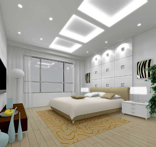 Recessed square lighting coves in this ceiling give the illusion of skylights above the bed. Light patterns on the ceiling of the coves can be varied and selected by remote. A truly dynamic ceiling!