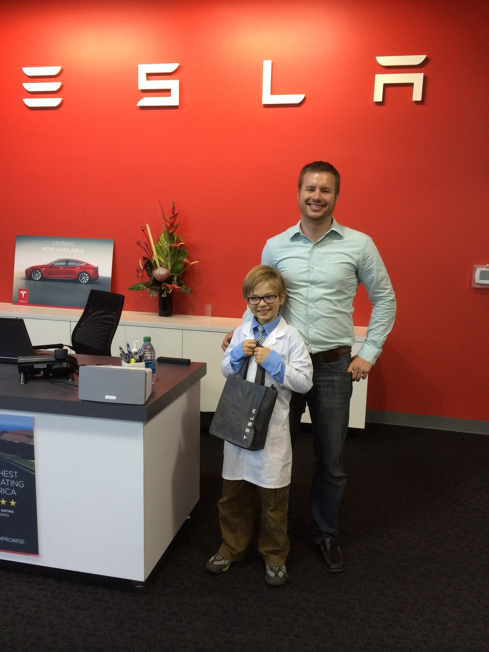 Ian Painter was our tour guide - and he sent Elliot off with some prime Tesla swag.