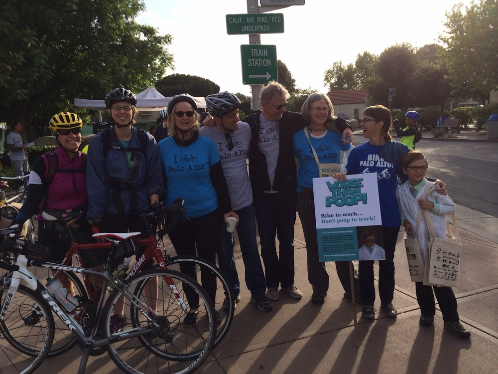 Elliot & Vanessa with team Bike Palo Alto - including Kathy Durham, Mayor Nancy Shepherd, Chief Transportation Official Jaime Rodriguez, and City Manager Jim Keene.