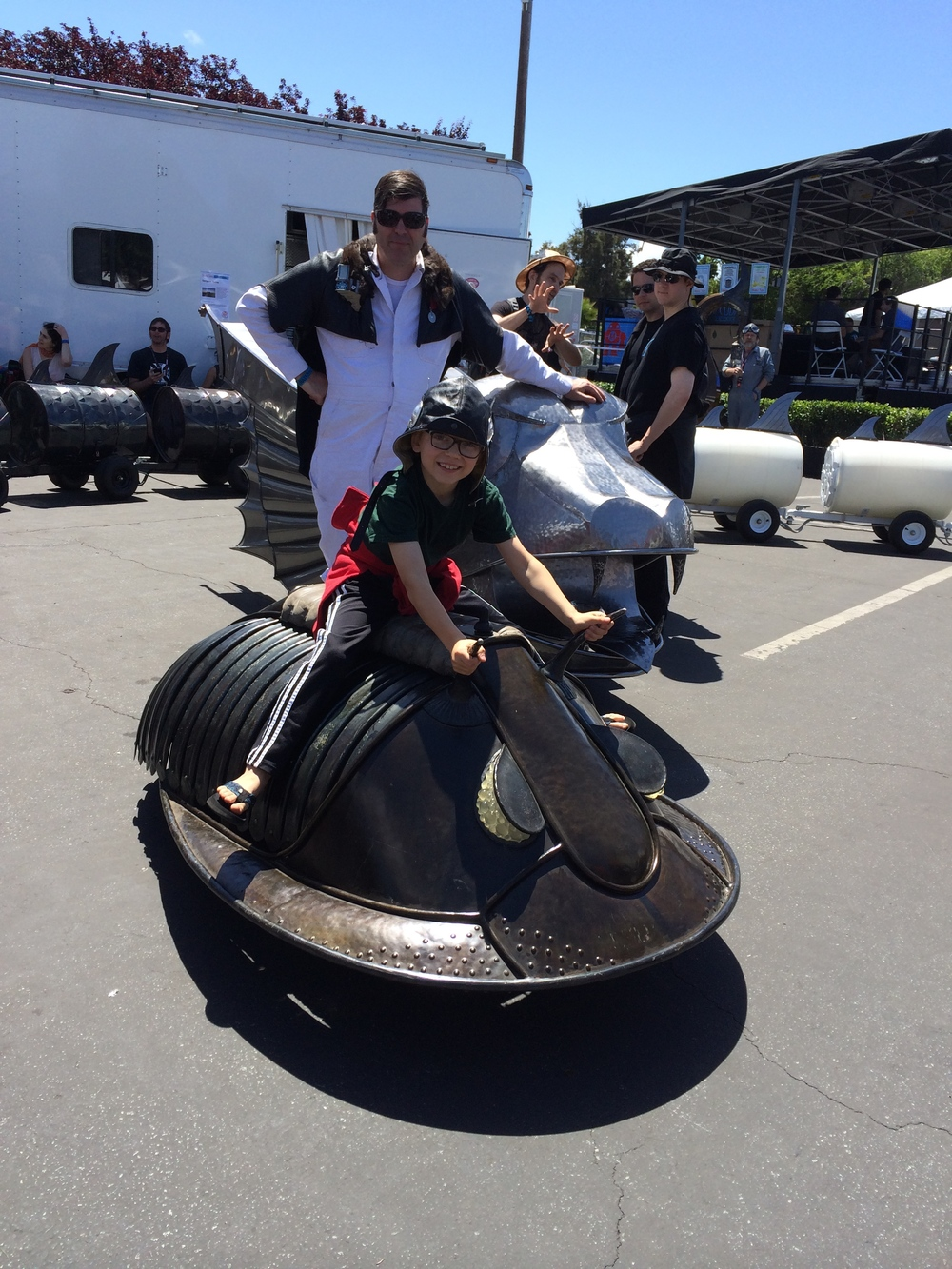 Jon Sarriugarte of Form & Reform let Elliot ride his electric trilobite (and wear his cool leather helmet)