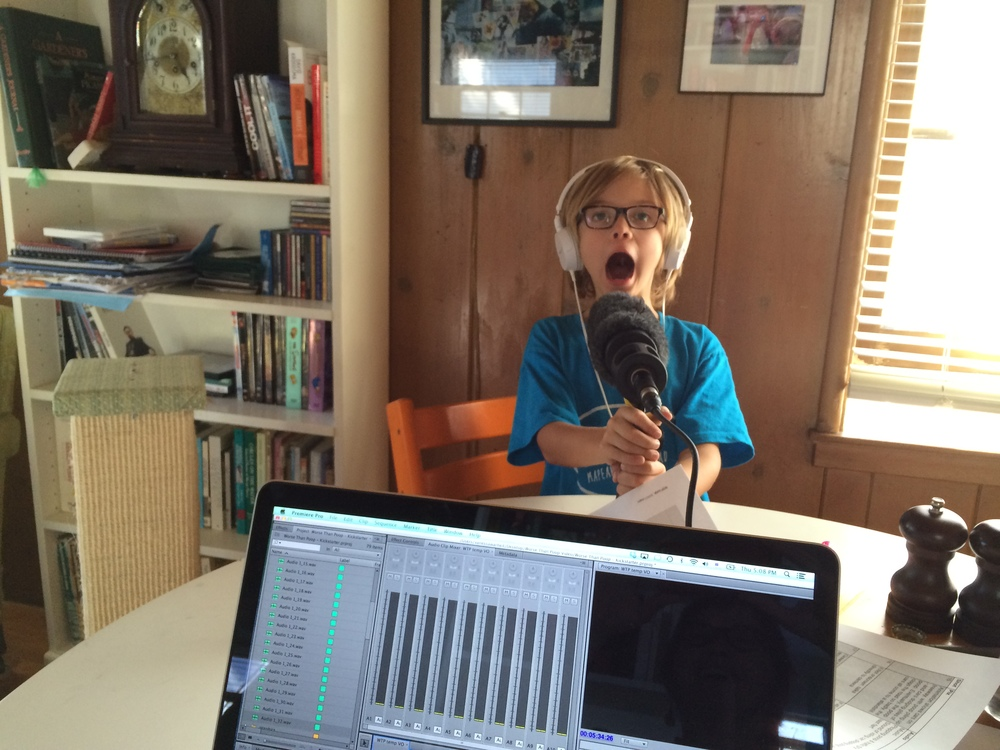 Elliot during a recent recording session at our kitchen table.