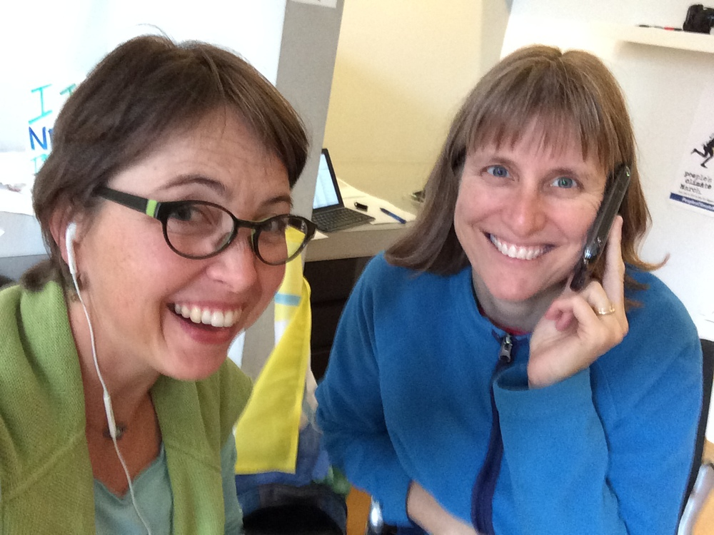 Phone banking for the Peoples Climate March at PCM headquarters, with Linda Hutchins-Knowles