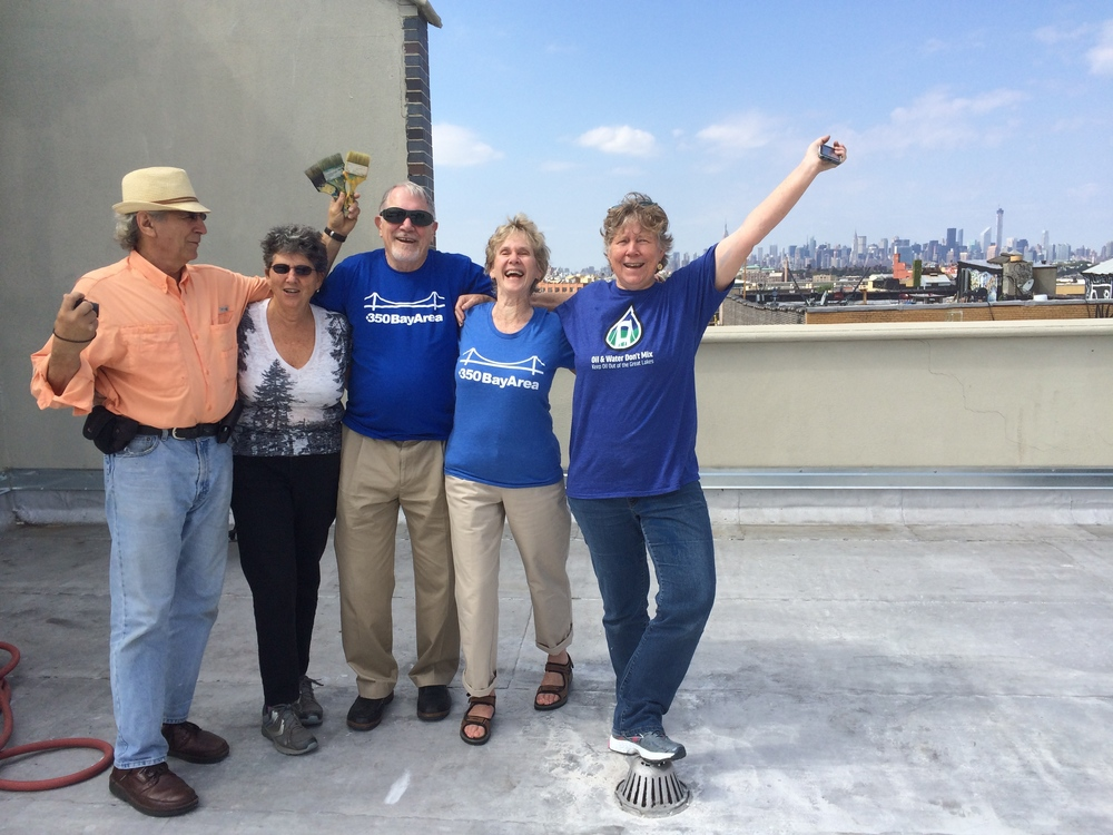 Kathy Dervin and friends from 350 Bay Area, on the roof of MayDay Artspace
