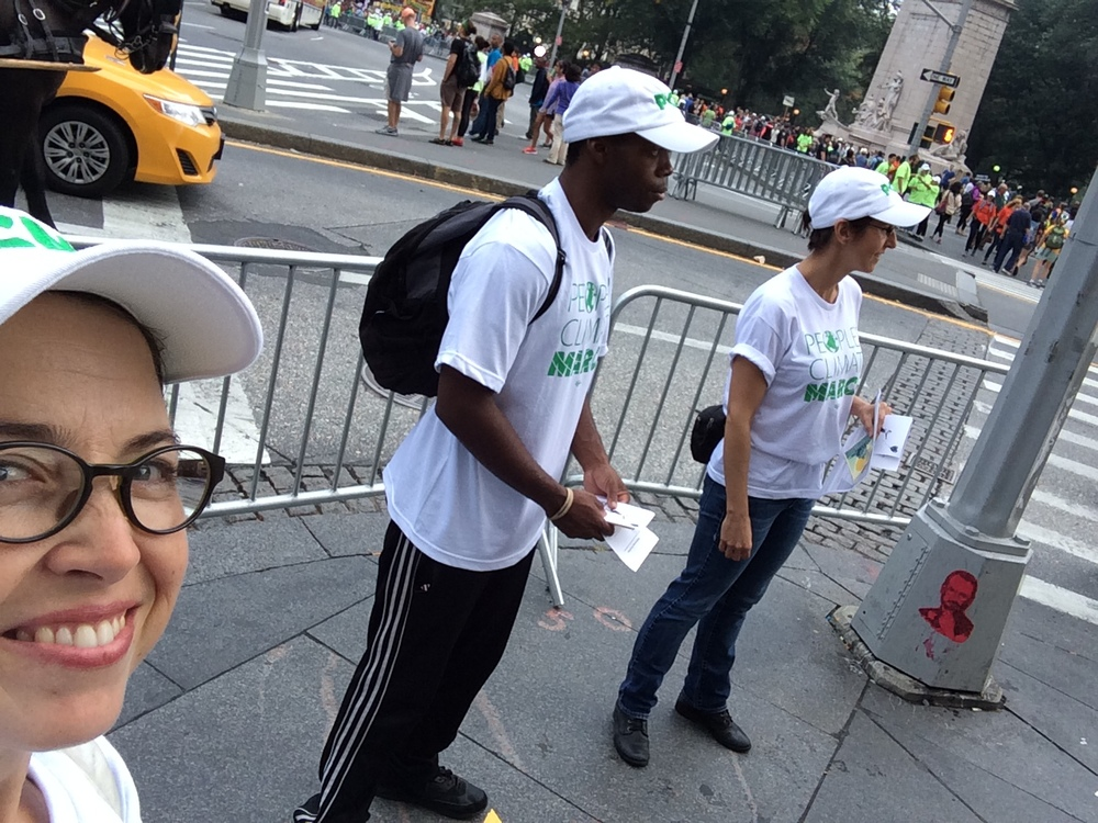 Volunteering for the Peoples Climate March at Columbus Circle in Manhattan.