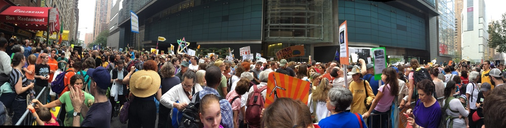 Waiting (and waiting and waiting!) with the Interfaith contingent on 58th St. for the march to begin.