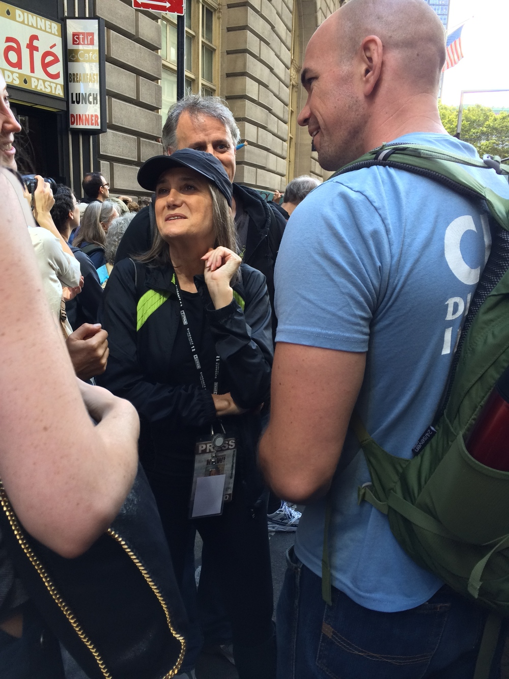 Tim deChristopher and Democracy Now's Amy Goodman at Flood Wall Street