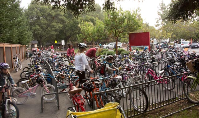 Bike racks were full during Walk & Roll week - and car drop-offs were really, really low.