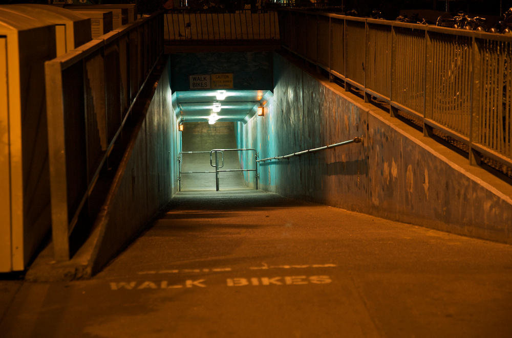 This nasty underpass' days are numbered! Try pulling your kid in a trailer through that...