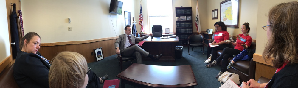 Our first meeting of the day - with Matt Powers, staff to Assemblymember Matthew Dababneh