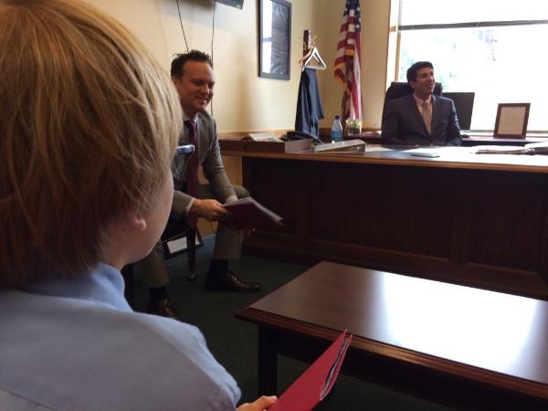 Elliot lobbyingMatt Powers and Assemblymember Matt Dababneh
