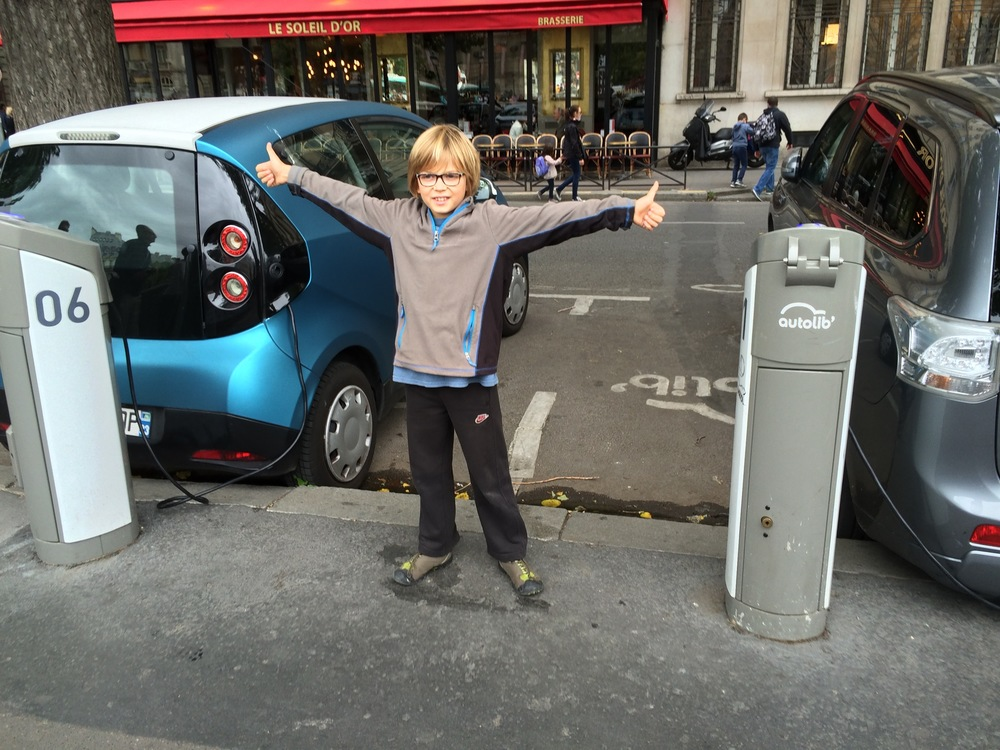 Autolib - all-electric city carshare, all over Paris. Elliot approved.