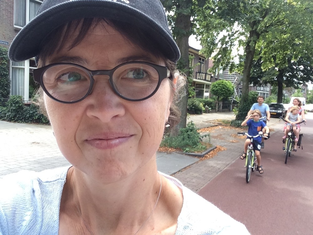 Cycling in Deventer, the Netherlands. Note the complete absence of helmets.