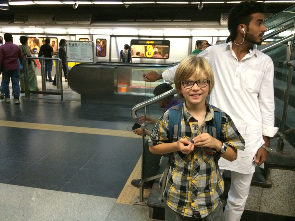 Elliot on the metro platform in New Delhi. Clean, shiny & air-conditioned!