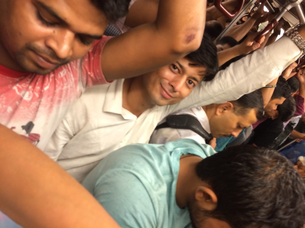 Friendly stranger on the packed New Delhi metro.