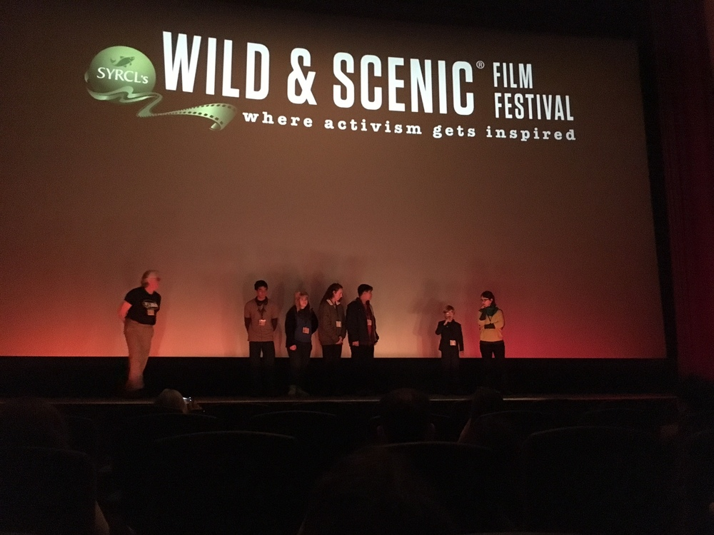 Answering audience questions onstage at the Del Oro Theater, at the Wild & Scenic Film Festival