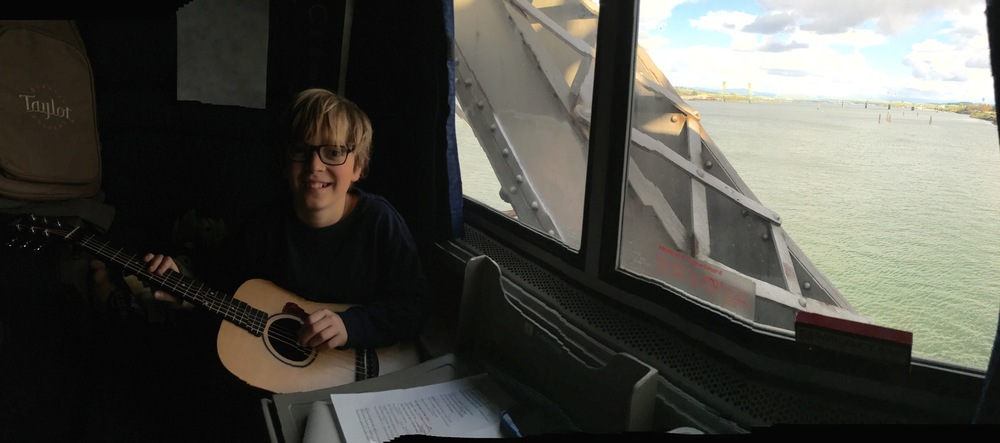 "Elliot accompanies me on ""Til the Wellheads Run Dry"" as we cross the Columbia River on Amtrak"