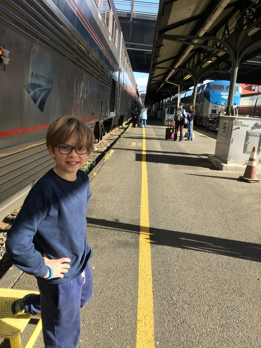 Stretching our legs at the Portland Amtrak station.