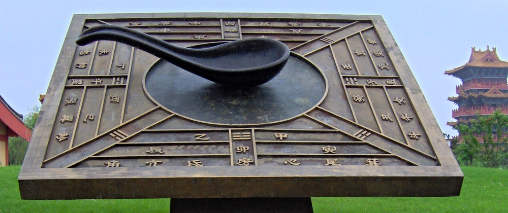 A lodestone is a naturally occurring magnetized mineral used to make the first compasses in medieval China (pictured above).