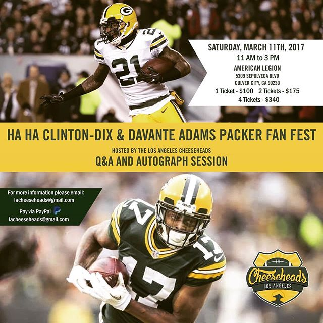 Hey Southern California, This Saturday (3/11) is your chance to meet The Garwood Brand Ambassador, Davante Adams @taeadams and 2016 Pro-Bowler, Ha Ha Clinton-Dix @_ha21 of The Green Bay Packers! Email lacheeseheads@gmail.com for tickets and info! What is included: • 2 hour Q&A and autograph session (includes at least 1 autograph from each player along with 1 official picture.) • 1 11x17 poster of each player (2 total) to be signed if you like • 1 free raffle ticket for a chance to win signed jerseys and more • Sandwiches and snacks • DJ • A charity raffle to benefit Animal Tracks Inc. with more signed equipment • Many other extras This will sell out so get your tickets ASAP: 1 ticket - $100 2 tickets - $180 4 tickets - $340 Email lacheeseheads@gmail.com for tickets! #GOPACKGO #GreenBayPackers #NFL #LA #TheGarwoodWatch #ShowUsYourGarwood