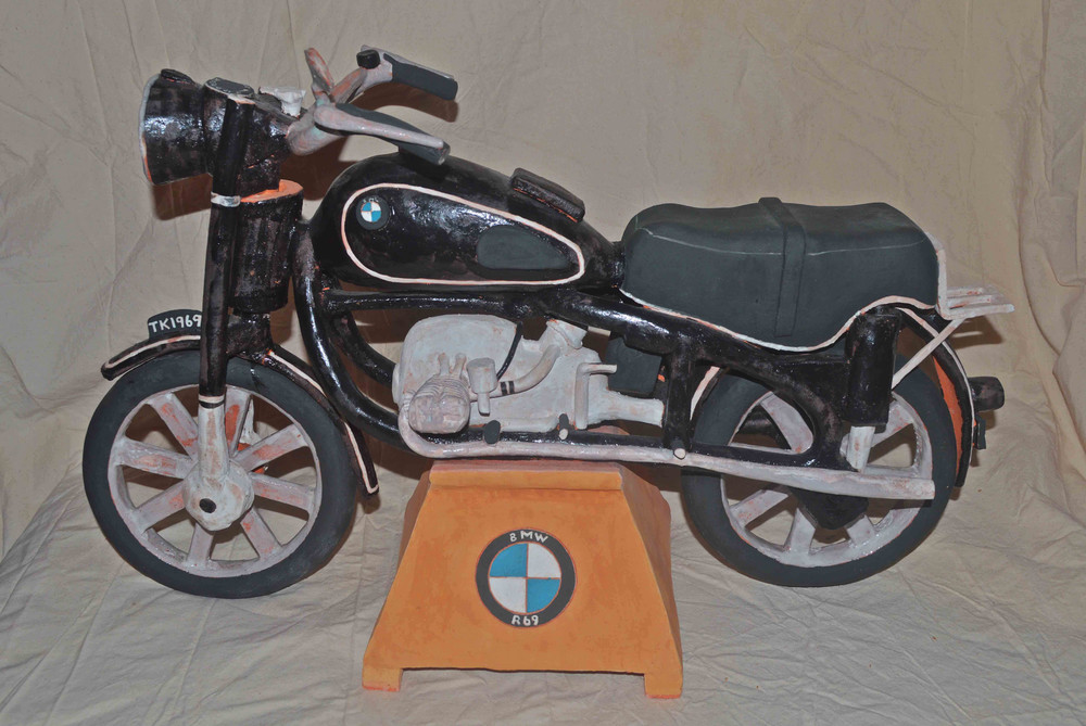 1969 BMW R69. A dedication to my cousin Ted who passed away way too soon. Stoneware clay fired to cone 2 reduction