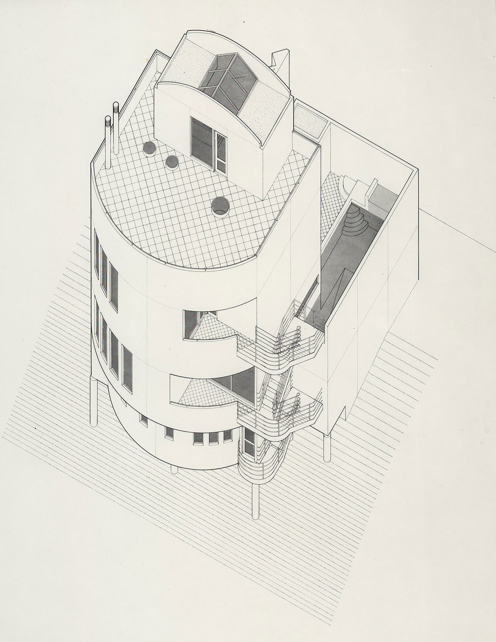 ARCHITECTURAL INTERNSHIP 2004 - 2007  Frank Welch & Associates – Dallas, Texas     Turtle Creek House – Dallas, Texas  Axonometric Technical Pen Drawing