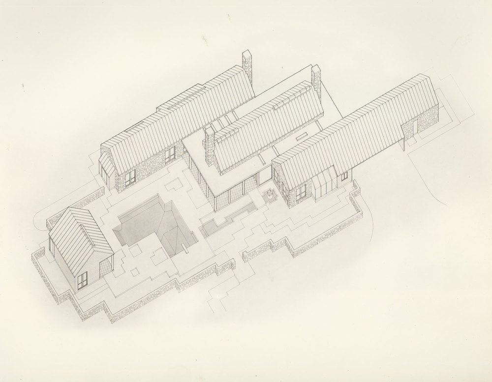 ARCHITECTURAL INTERNSHIP 2004 - 2007  Frank Welch & Associates – Dallas, Texas     Texas Hill Country House  Axonometric Technical Pen Drawing