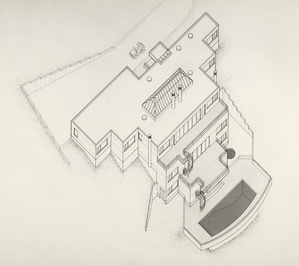 ARCHITECTURAL INTERNSHIP 2004 - 2007  Frank Welch & Associates – Dallas, Texas     Aspen, Colorado Vacation Home   Axonometric Technical Pen Drawing