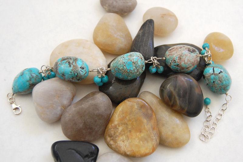 Chunky turquoise cluster bracelet.jpg