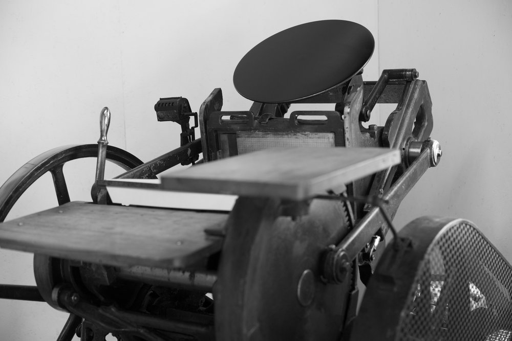 Meet Carl!  Carl is our 1950s Chandler and Price platen printing press, which we named after it's previous owner who passed away. Everything made at Post Rider Press has been hand-fed, one at a time through this printing press. He's an old man but he's still cranking away!