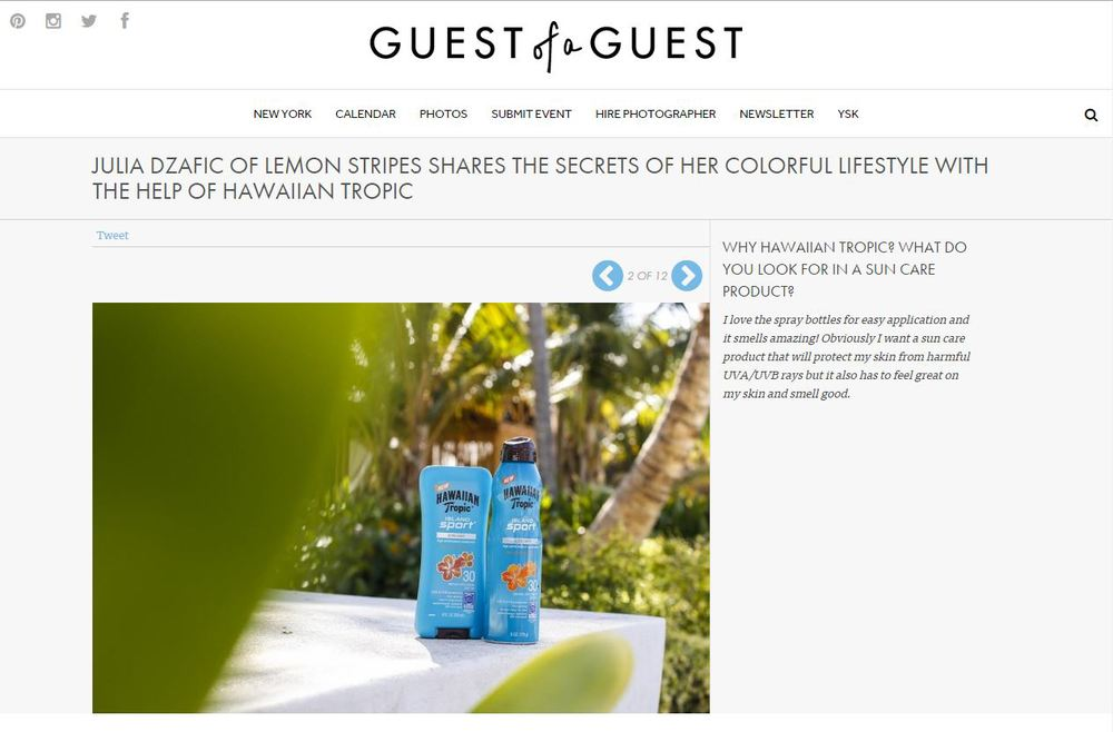 Our Dominican Republic Hawaiin Tropic photo is featured on  Guest of a Guest !