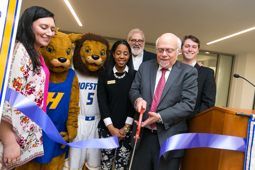 The Hofstra University student PRIDE Den grand opening during a celebratory ribbon-cutting on 3/30/2017.