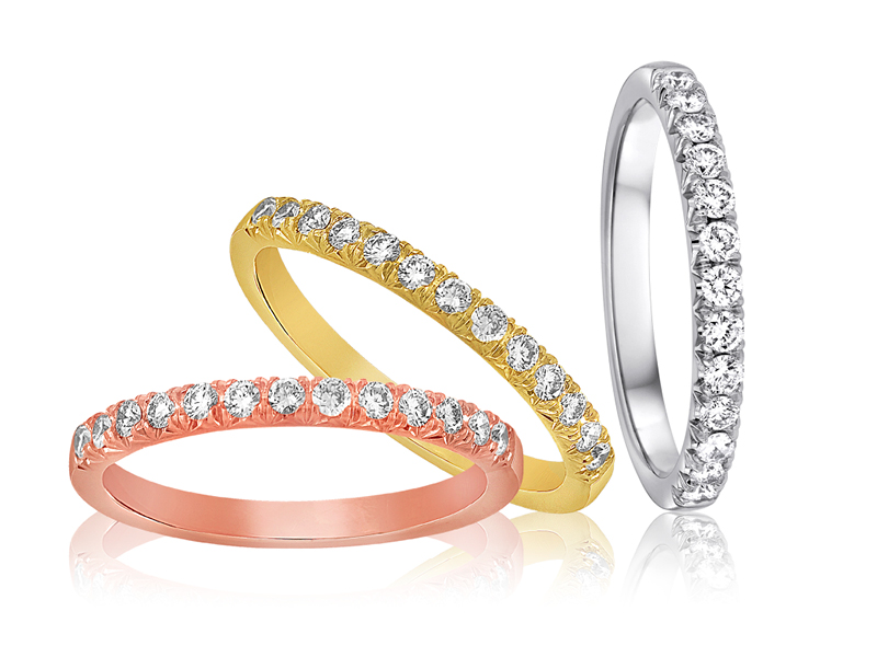 W1015-1, 1/4 CT TDW 18K Pink, Yellow, and White