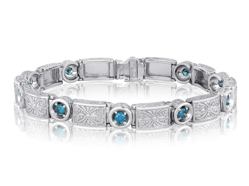 756 Blue Treated  This bracelet features the same links and spacers as the 756, but with .15 CT color treated blue diamonds.
