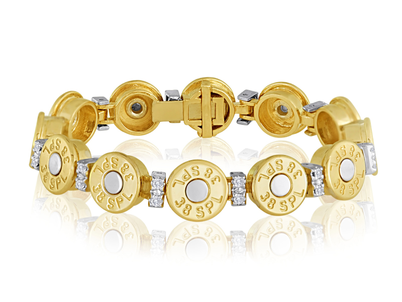 .38 Special Our lady's second amendment piece! Celebrate your right to bear arms by wearing our .38 special 14k gold and diamond cartridge bracelet on yours.