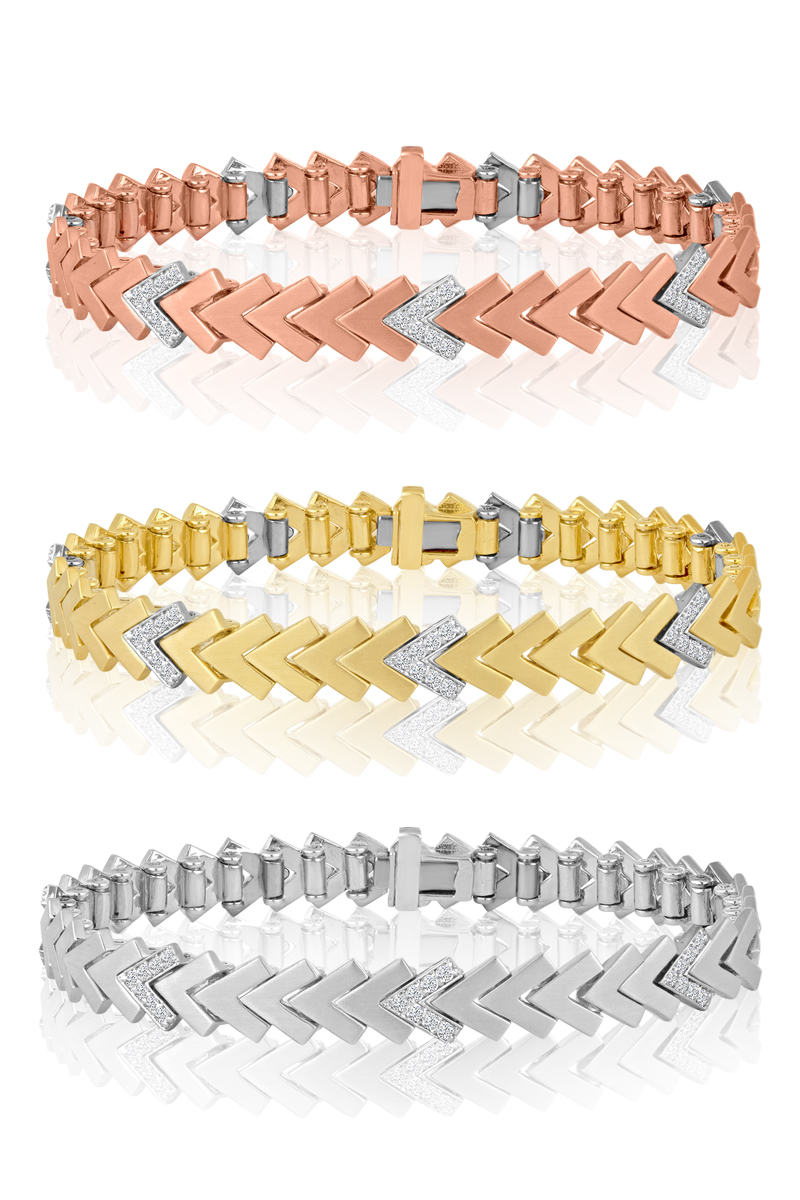 507 Chevron  The 507 chevrons bracelet is available in any combination of WG diamond links (.10 CT TDW each) and white, yellow or pink gold spacers. We show the bracelet here a few ways, but it was designed to be assembled in our workshop or in the store in whatever combination of plain gold and diamond links you like to make any total diamond weight from .10 CT to 4.00 CT. And if you start out with only a few diamond links, you can always trade in the gold links over time and pay only the difference in labor and materials for the upgrade.