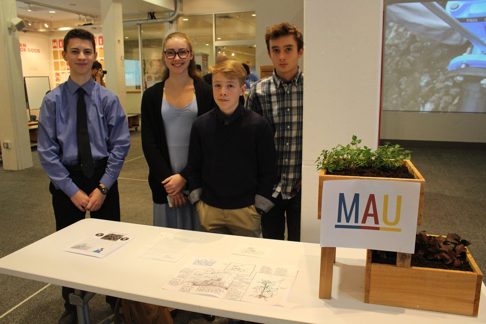 "3rd Place Winner:MAU Team Mean Machine 2471 - The MAU Mean proposed Modular Agricultural Units (MAU) that can be assembled and stacked as different configurations of planters. The prototype structure is 24x24 inch box with a depth of 12"" of soil. Included in the MAU package are seeds customized for the customer's geographical location and climate to maximize nutritional value. An app allows customers to trade produce, troubleshoot problems, read assembly instructions, and connect with a community of MAU farmers."