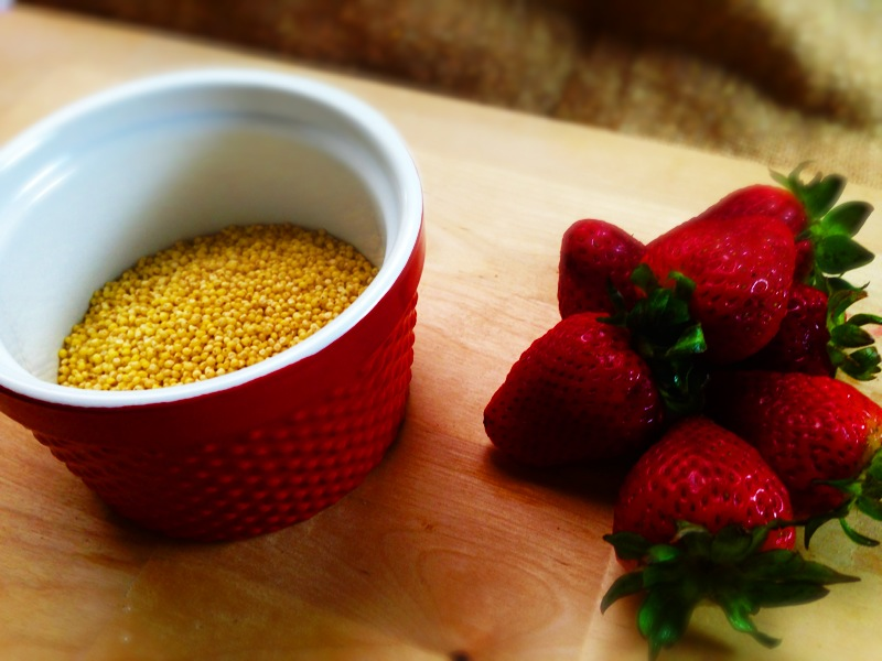 strawberries and millet