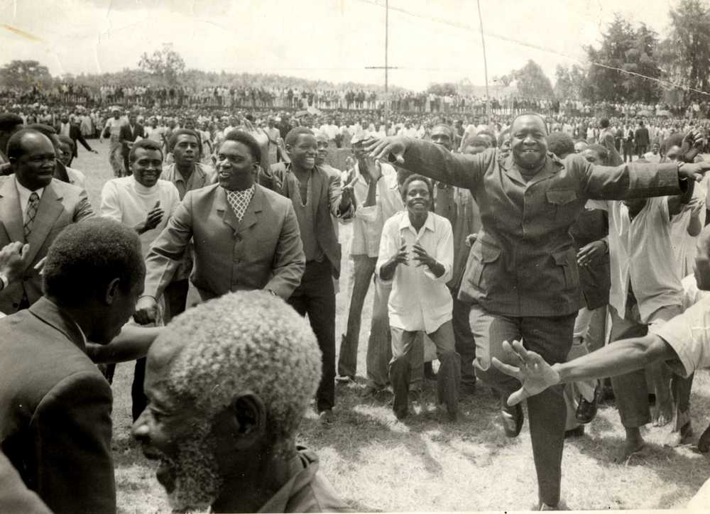Idi Amin dancing with his fellow dictator, Rwanda's Juvénal Habyarimana. (The New Vision)