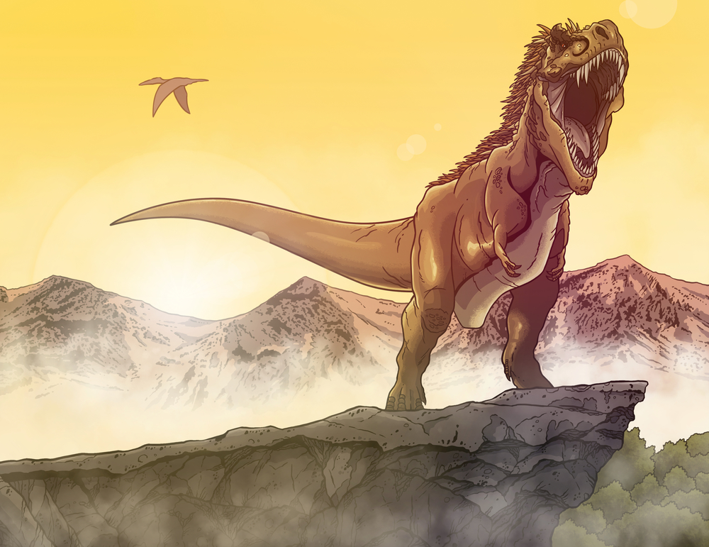 "A newly debuted illustration, ""T.rex Sunrise."""