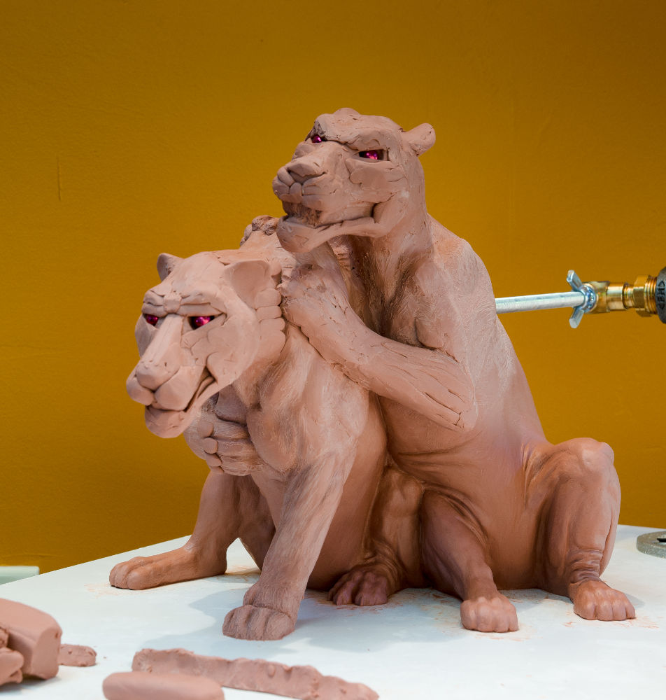 Rascals sculpture, clay work-in-progress by Terrence Robertson-Fall