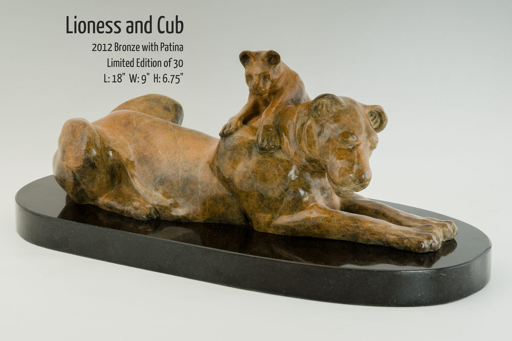 "Lioness and Cub bronze sculpture by Terrence Robertson-Fall, based on a scene witnessed in the Serengeti in Tanzania, Africa.  18""x9""x6.75"""