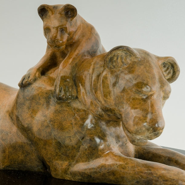 Lioness and Cub bronze   $3200