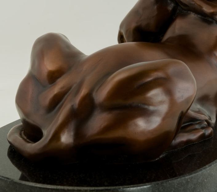 Lioness and Cub bronze with French Brown patina.  By Terrence Robertson-Fall.
