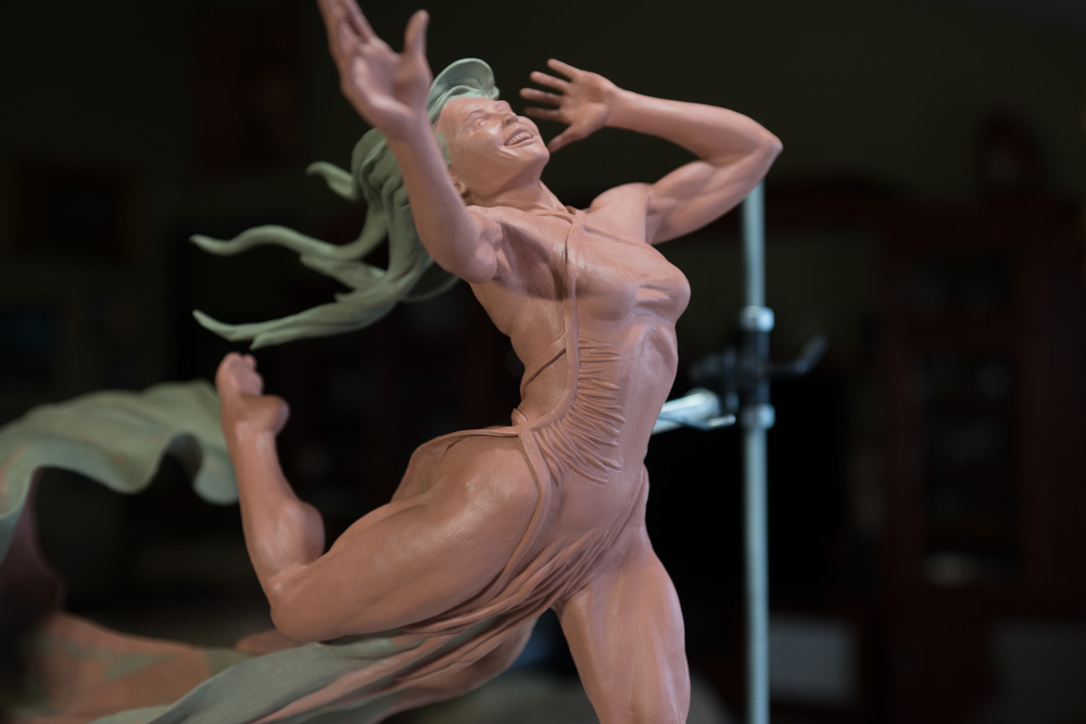 Running Free Dancer, final clay - bronze sculpture by Terrence Robertson-Fall