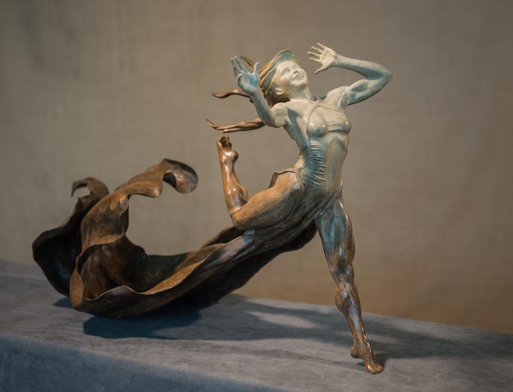 Running Free Dancer bronze sculpture by Terrence Robertson-Fall