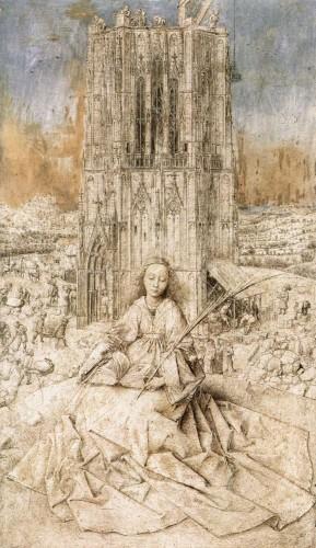 Een even mysterieus kunstwerk (van het KMSKA):  De Heilige Barbara van Jan Van Eyck.  (Waarom) is ze onafgewerkt?   © Boijmans van Beuningen