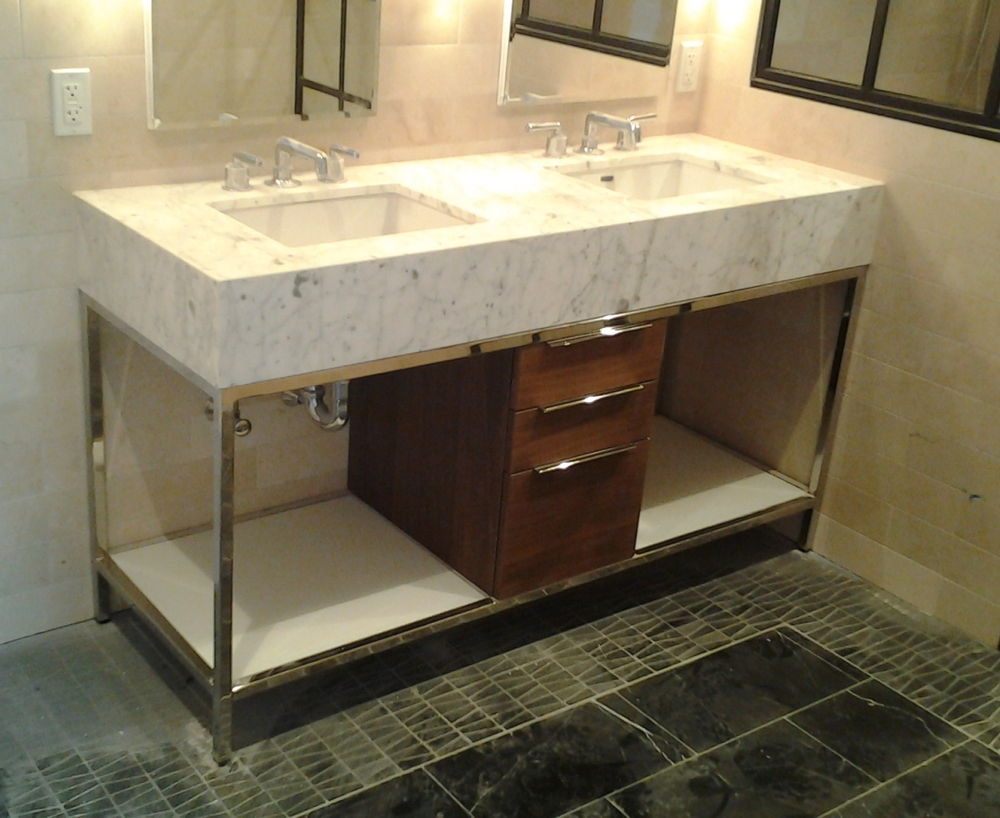 Large Bathroom Vanity - Mirror Finish