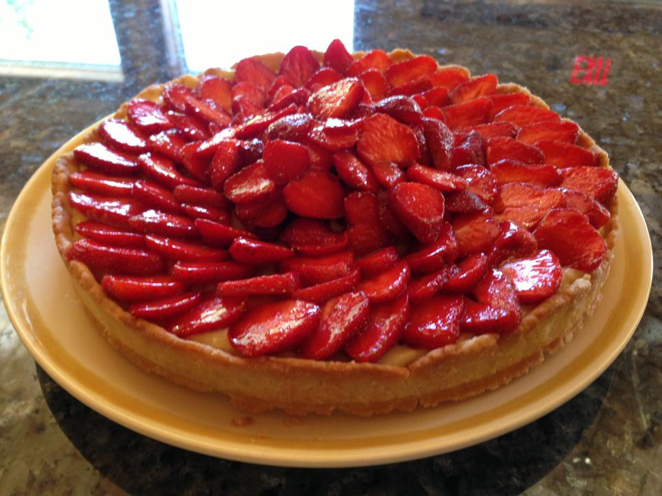 Strawberry and lavender tart