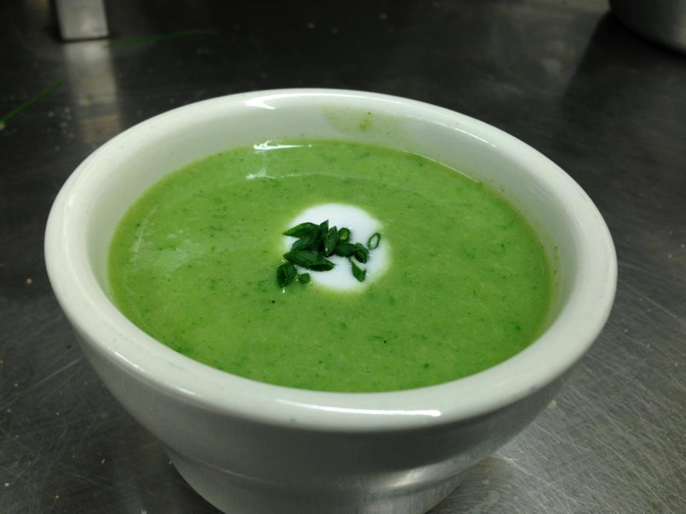 "Vegan ramp, cattail, and nettle vichyssoise with coconut ""creme fraiche"""