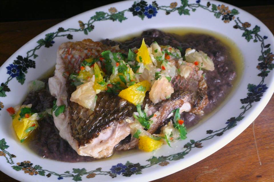 red snapper, smokey black beans, citrus salsa